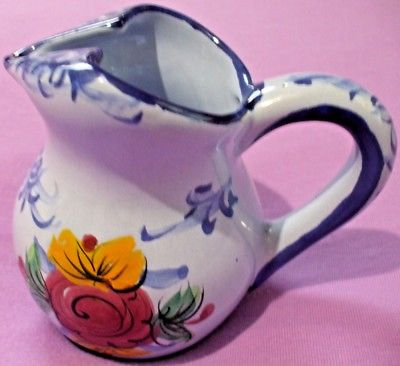 Vestal Hand Painted Glazed Ceramic Creamer/Pitcher Made in Portugal 5 In Tall