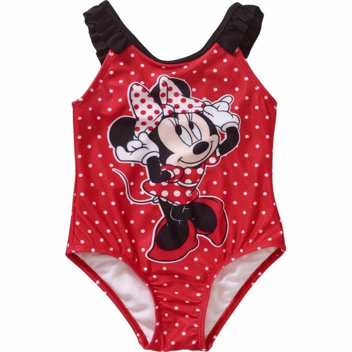 NWT 1pc Disney Minnie Mouse Red Polka Dot Swimsuit sz 2t