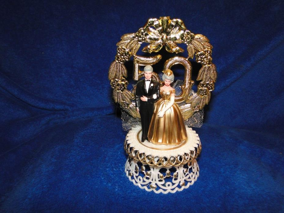New Elegant 50th Wedding Anniversary Couple Caketopper in Gold