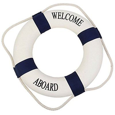 Welcome Aboard Cloth Life Ring Accent Nautical Decor, 13.5