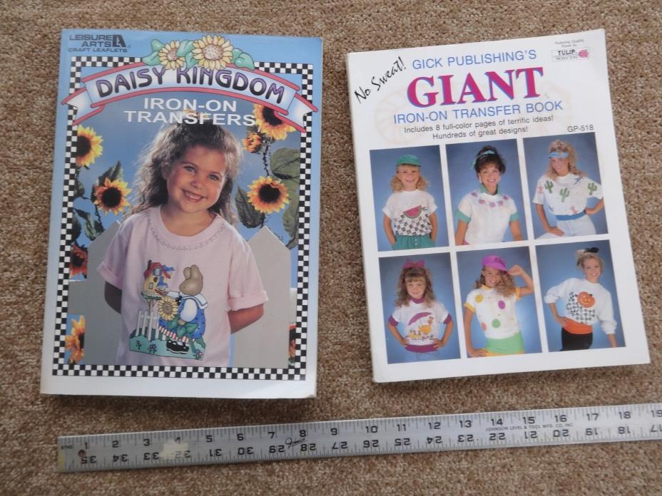 Lot of TWO Daisy Kingdom & Giant Iron On Transfers Books NEW