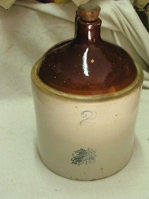 Western Stoneware 2 gallon salt glazed clock moonshine jug app. 14