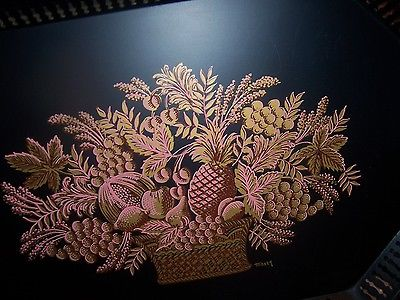 VINTAGE MAXEY Large Black Metal Gold and Pink Fruit Basket Design