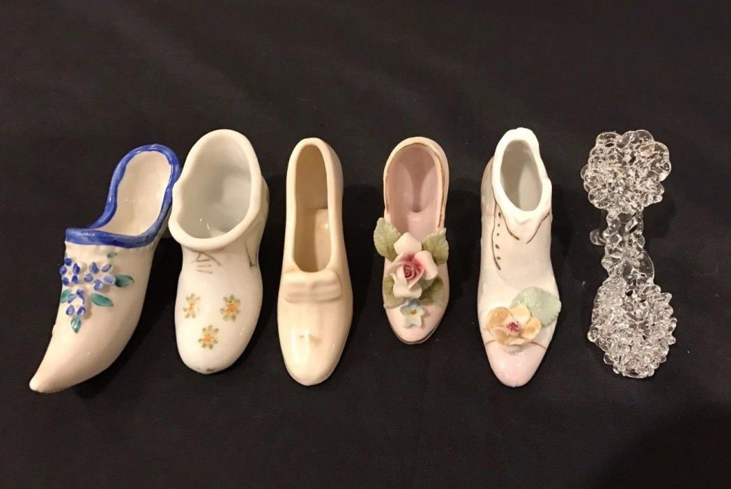 Lot of 6 PORCELAIN Pottery MINIATURE Shoes Vintage Victorian Pumps Slipper EC
