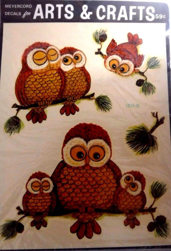 Meyercord Decal Art Vintage Water Applied Craft Transfers Hoot Owls decor