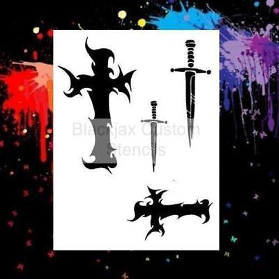 Cross & Dagger Set  Airbrush Stencil