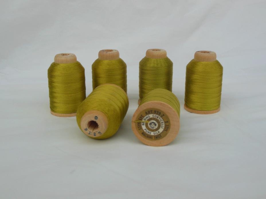 Belding Lime Green Silk Thread Sz D Lot of 6 @ 345 Yards 9125 Wood Spool