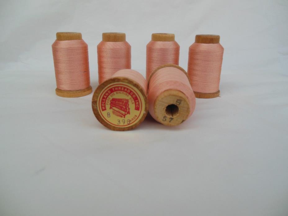 Holland Salmon Pink Silk Thread Sz B Lot of 6 @ 390 Yards 57 Wood Spool