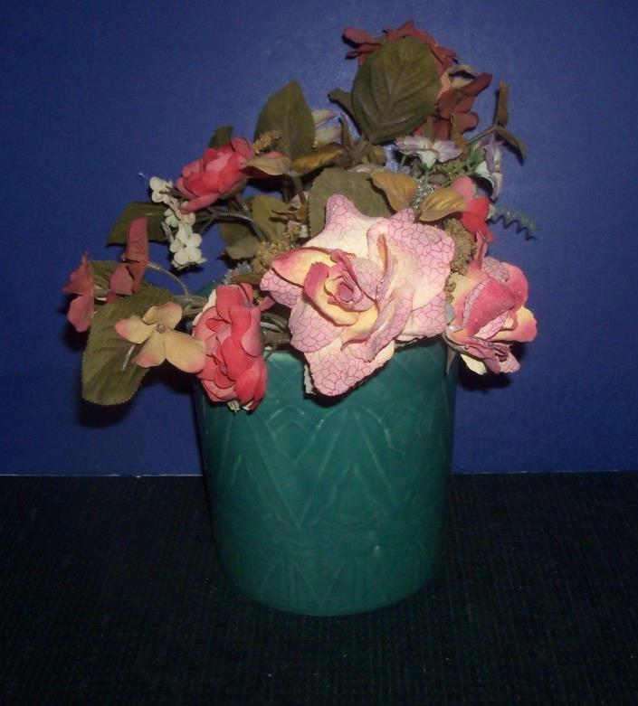 Green Planter with Peach Colored Flower Arrangement - Pottery