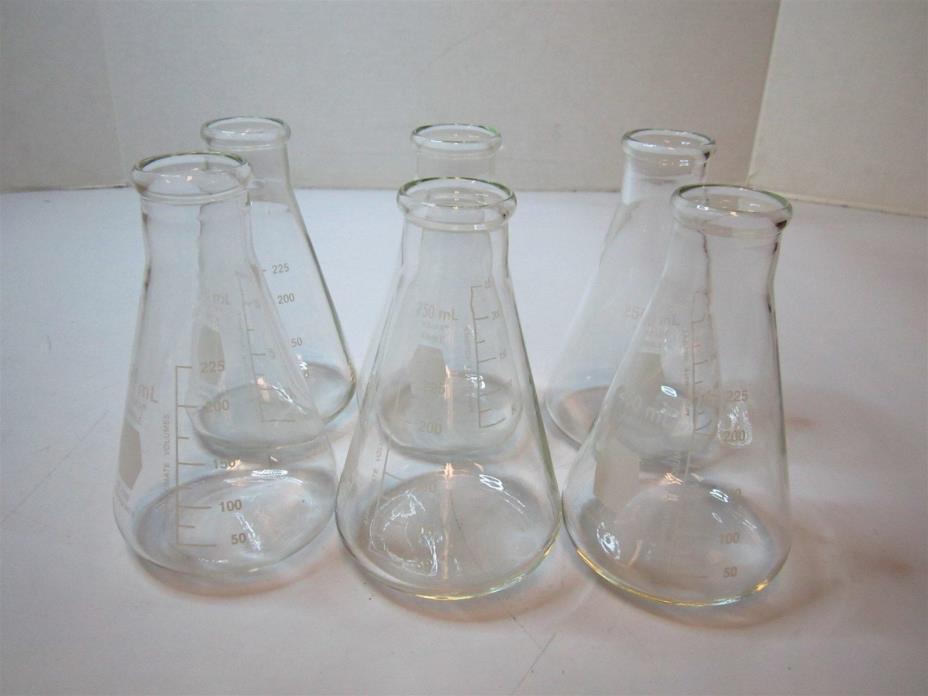 (6) KIMBLE CHASE 26500-250 Narrow Neck Erlenmeyer 250 mL Flask Range 50-225 mL