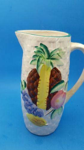 Hand painted Porcelain  basket weaved Pitcher made japan design pineapple fruit