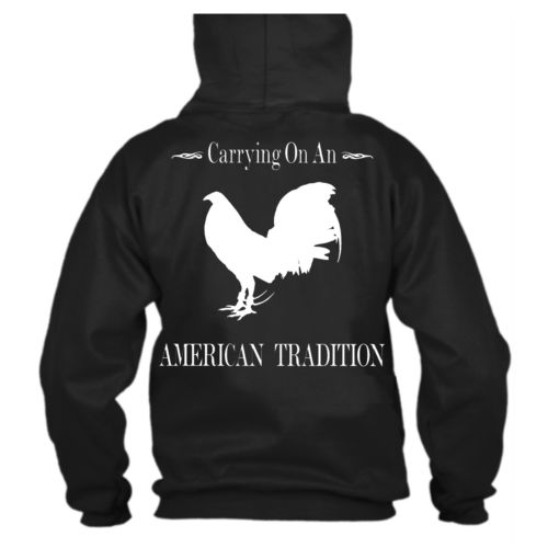 Black Gamefowl Hoodie Sweatshirt American Tradition Rooster NEW Custom Made S-XL