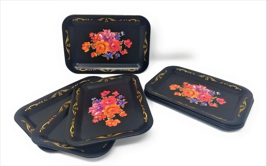 Vintage Set of 8 Snack / Canape Tray / Coasters w/Original Box Flowers EUC