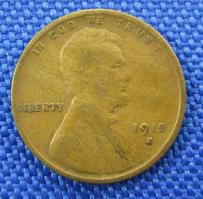 1915 S U.S. Lincoln Wheat Cent Coin