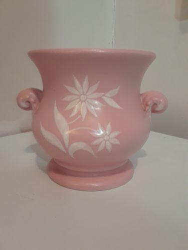 Abingdon Pottery Pink Matte Vase #559, White Floral Embellishment 6 1/2