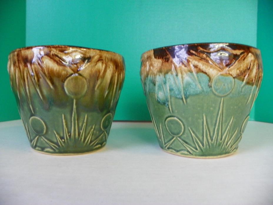 Vintage Robinson Ransbottom pair of pottery vases; Roseville Ohio