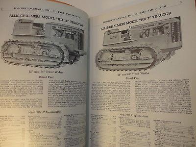 1941 Construction Equipment Catalog Allis Chalmers Tractors, Baker Acces, etc.