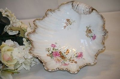 German Porcelain Bowl Shell Form Pink Carnations Gilt TRim 9.5