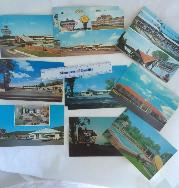 Postcard lot 12 Souvenir Travel Motel Howard Johnson Thruway Cars Court vtg y9