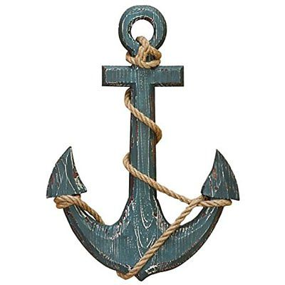 91620 Wood Anchor With Rope Nautical Decor