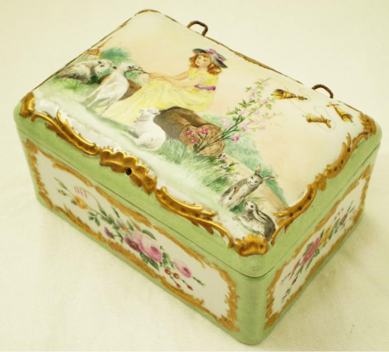 Antique Signed AP 1902 HAND PAINTED PORCELAIN BOX Girl Sheep Rabbits Flowers