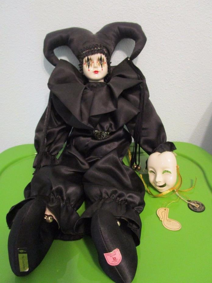 Brinn's Collectible Edition 1988 Wind Up Doll -Jester in Black