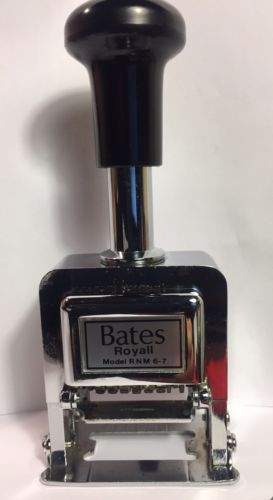 Bates Royal RNM 6-7 Automatic Numbering Machine 6 Wheels 7 Movements Ink Stamp.