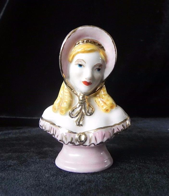 Antique Morrow FEMALE BUST FIGURINE HAND PAINTED Bavaria Germany RINGLETS