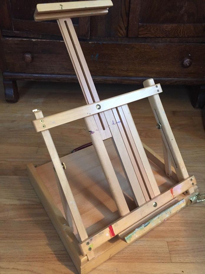Easel Painting Art Box Wood Kit Artist Oil Paint Brushes Case Dovetail Wooden