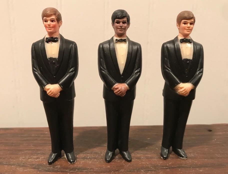 3 Vintage Wedding Groomsmen Groom Black Tux Cake Topper Decorations Lot# 45