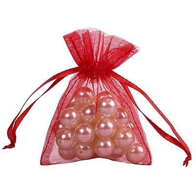 Gift Baskets Ling's Moment 50PCS RED Inch Sheer Organza Favor Drawstring Bags