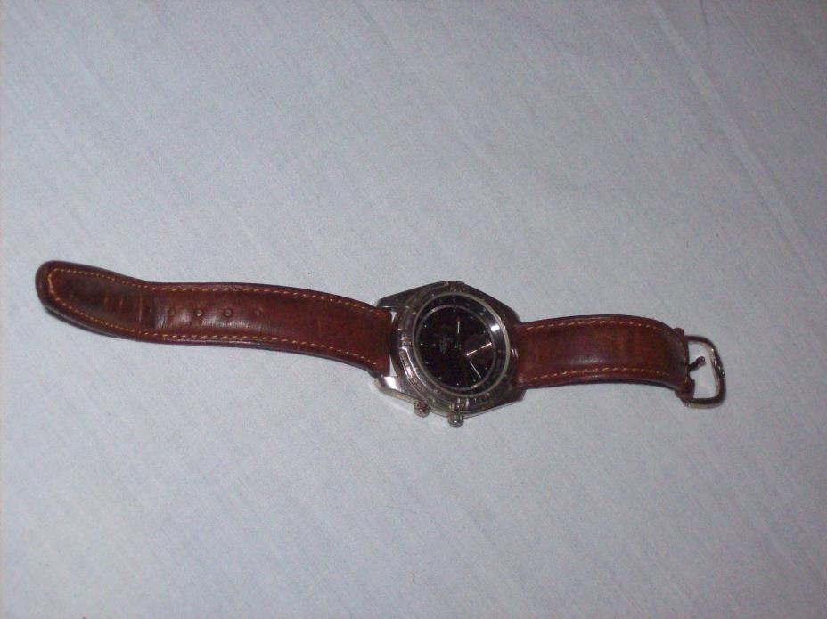 Fossil Alarm Tachymeter AM1939 3 ATM Water Resistant Watch with Leather Band