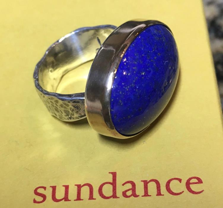 New Sundance Jes MaHarry Mountain Nights Ring 8 Silver/Gold Lapis Lazuli $890