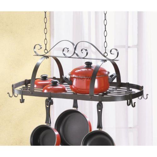 Iron Hanging Pot Holder Pan Hanger Kitchen Storage Utility Cookware Hook Rack LB