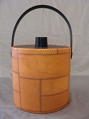Vintage Irvinware Mid Century Modern Ice Bucket With Faux Patched Leather Look