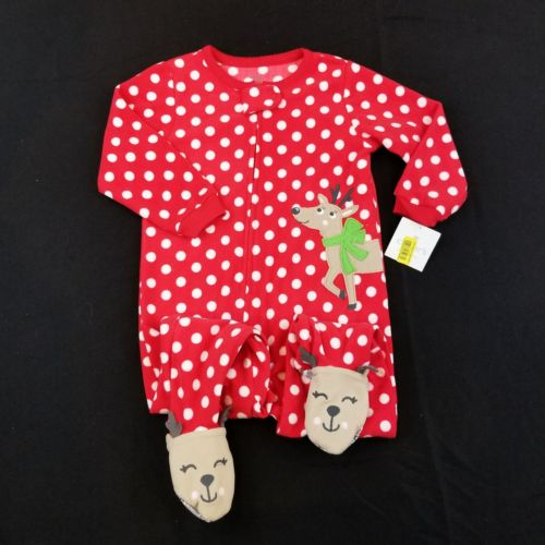 Carters Size 24 Months Baby Girl Fleece Footed Sleeper Pajamas Sleeper Reindeer
