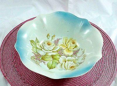 Vintage Bavaria Serving Bowl Porcelain Hand Painted Blue Floral Design