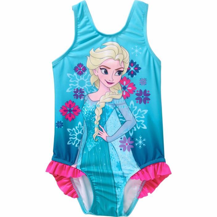 NWT 1pc Disney Frozen Elsa Blue Swimsuit sz 5t