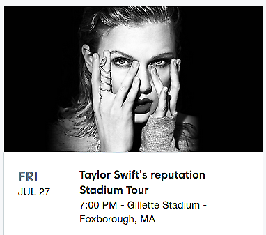 2 VIP Package Tickets-Taylor Swift Concert in Foxboro, MA July 27   7/27/18