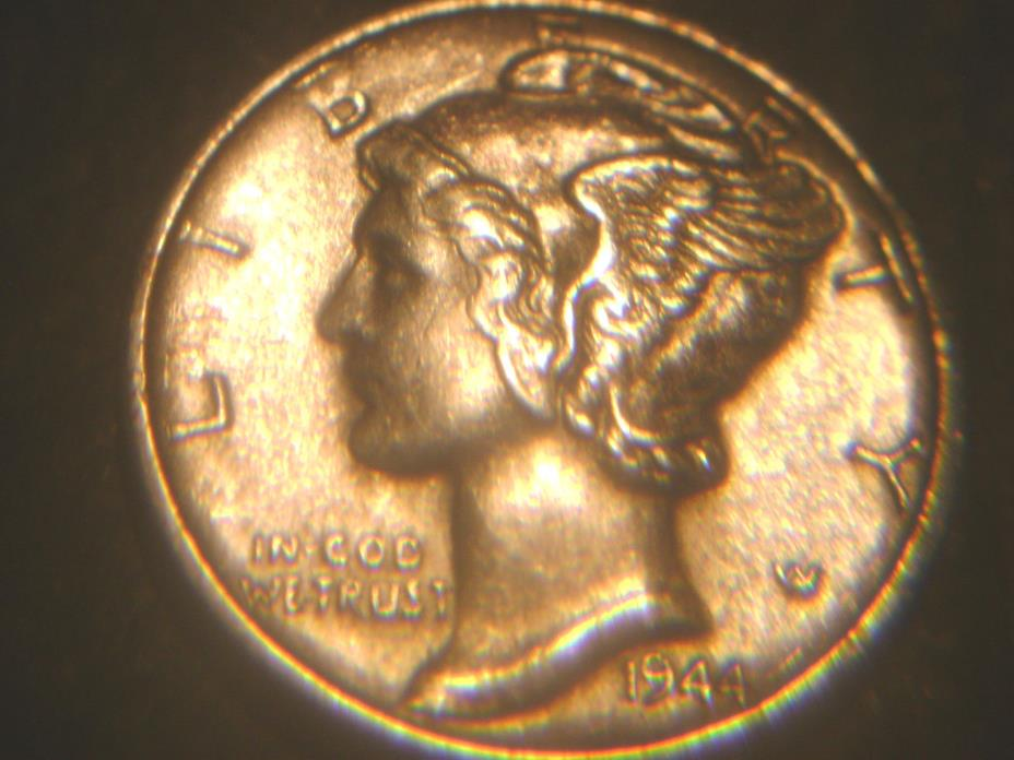1944-D MERCURY DIME IN AU CONDITION.RARE.ADD TO SET OR COLLECTION.HIGH GRADE.