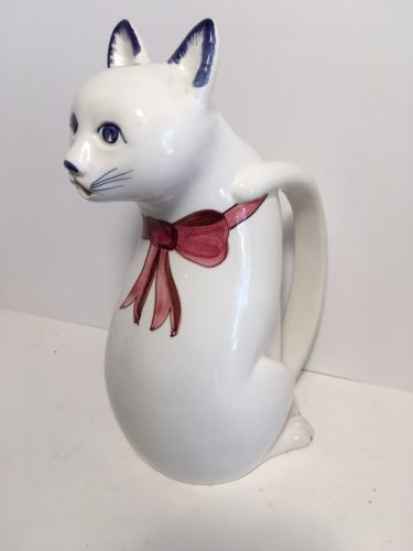 Vintage Ceramic Cat Pitcher Tail Handle Made In Italy 10