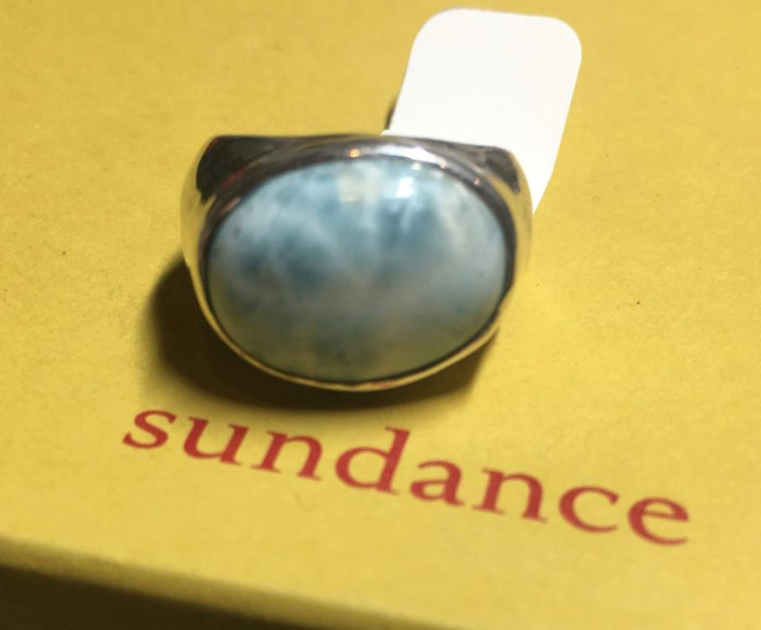 New Sundance Catalog Sky Above Ring 5 Silver Larimar retail $248 healing/calming