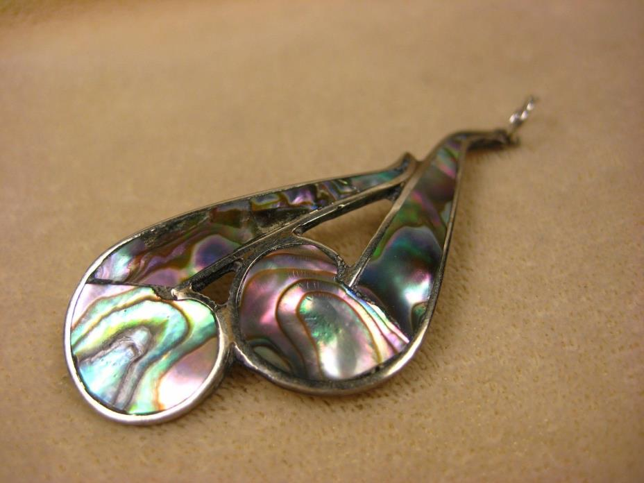 Vintage Sterling Silver Mexico Mosaic Paua Mother of Peal Inlay Curl Pendant
