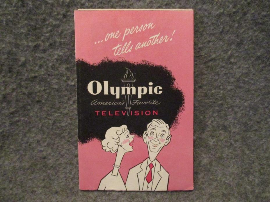 1951 Olympic Television Vintage Advertising Brochure Folded Booklet Poster