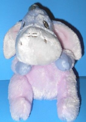 Adorable Cuddly Cute Eeyore Plush Disney Rattle Stuffed Pink Purple Baby Toy 8