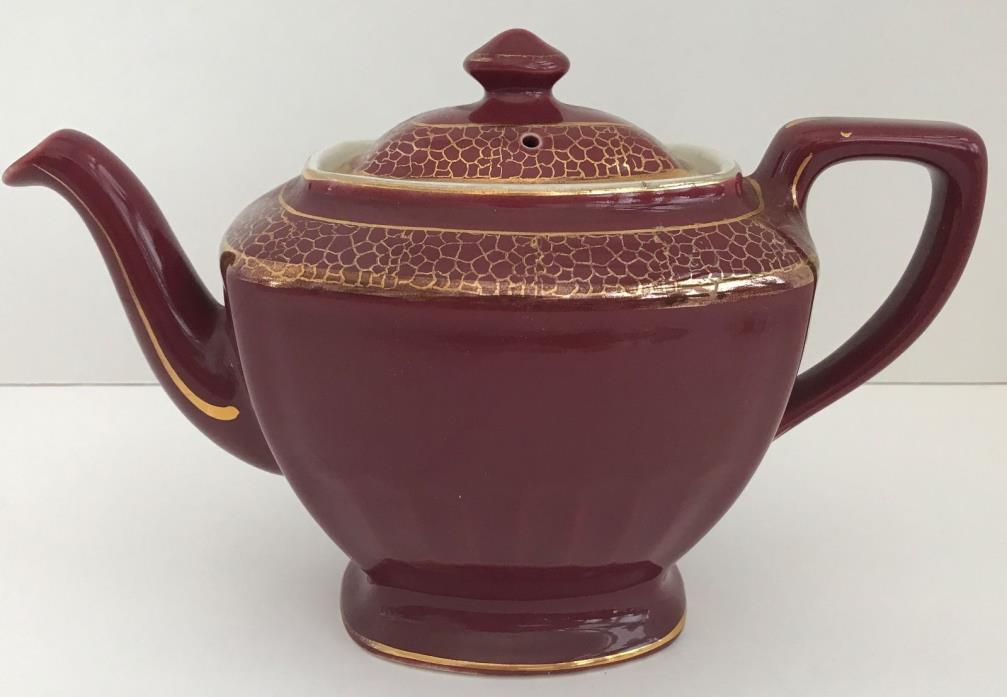 Vintage Hall Maroon and Gold Trim 6 Cup Teapot