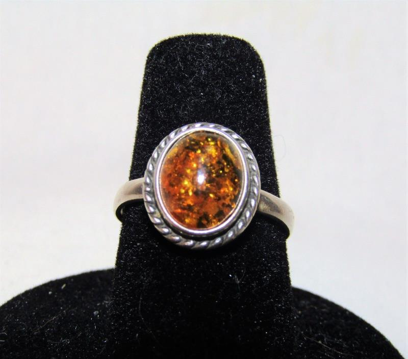 Estate BALTIC Cognac Honey Natural AMBER CABOCHON 925 Sterling Silver Ring 6.75