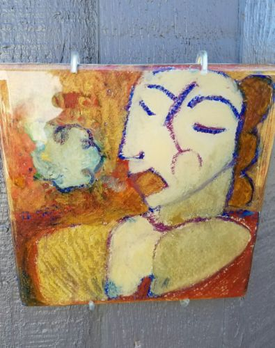 Fine Hand Painted Glazed Ceramic Tile Expressionism Art by Karen Gagich