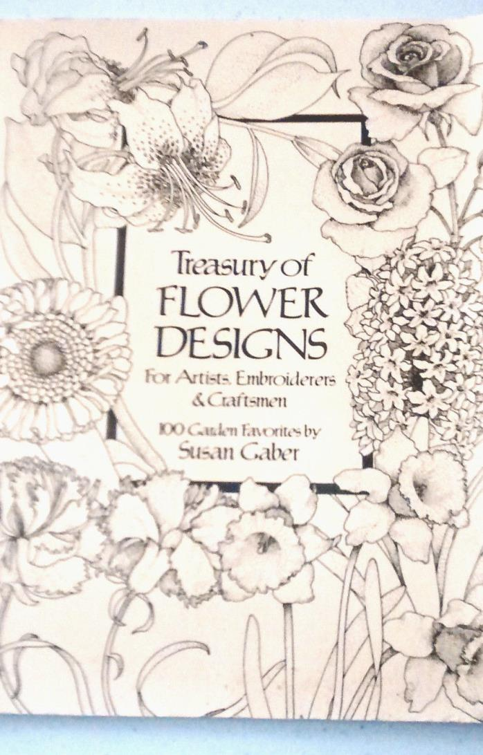 PATTERNS Book, Treasury of Flower Designs.Susan Gaber 1981. Artists, Craftsmen