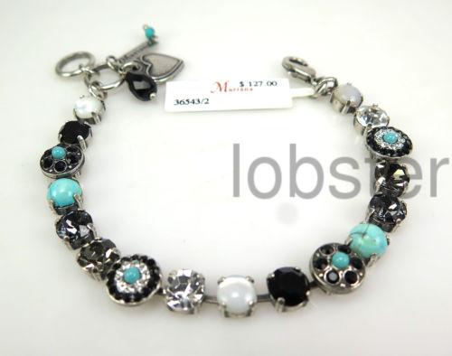 MARIANA ZANZIBAR MOSAIC BRACELET MOP Swarovski Crystal Silver Night Turquoise